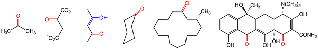 Representative ketones, from the left: acetone, a common solvent; oxaloacetate, an intermediate in the metabolism of sugars; acetylacetone in its (mono) enol form (the enol highlighted in blue); cyclohexanone, precursor to nylon; muscone, an animal scent; and tetracycline, an antibiotic.