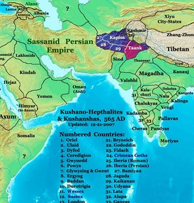 Asia in 565 CE, showing the Shahi kingdoms, centered on modern Khyber Pakhtunkhwa.