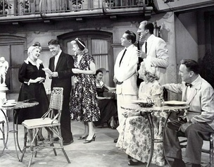 "The first 1-hour episode ""Lucy Takes a Cruise to Havana"" is an extended flashback of how Lucy met Ricky. L-R: Ann Sothern, Rudy Vallee, Lucille Ball, Desi Arnaz, Cesar Romero, Vivian Vance and William Frawley (1957)"