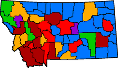 Montana county map 1930 (current)