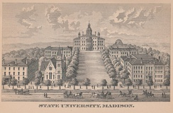 An early illustration of the campus, from the 1885 edition of the Wisconsin Blue Book.