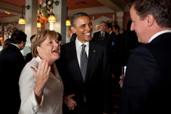 Cameron talks with US President Barack Obama and German Chancellor Angela Merkel, 25 May 2011