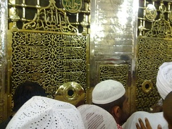 The tomb of Muhammad is located in the quarters of his third wife, Aisha. (Al-Masjid an-Nabawi, Medina)