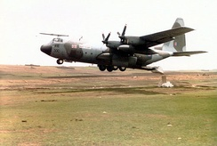 RAF C-130 airdropping food during 1985 famine