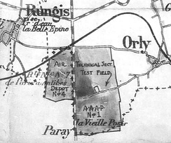 Map showing the locations of the three airfields that were used as part of the Air Service Acceptance Park No. 1