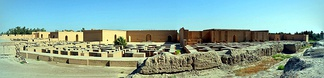 Panorama view of the reconstructed Southern Palace of Nebuchadnezzar II, 6th century BC, Babylon, Iraq