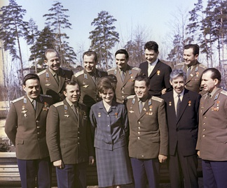 The first eleven Soviet cosmonauts, July 1965. Back row, left to right: Leonov, Titov, Bykovsky, Yegorov, Popovich; front row: Komarov, Gagarin, Tereshkova, Nikolayev, Feoktistov, Belyayev. All were awarded the Hero of the Soviet Union, worn on the left breast and the Pilot-Cosmonaut of the USSR decoration, worn on the right.
