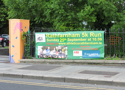 Signage for the 2016 Rathfarnham 5 km Run, organised by Rathfarnham WSAF Athletic Club