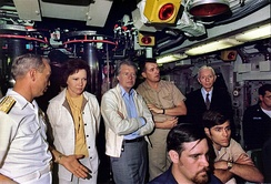 President Jimmy Carter and Admiral Hyman G. Rickover, USN (far right) aboard the submarine USS Los Angeles in 1977