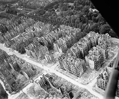 Bombed and burned-out buildings in Hamburg, 1944/45