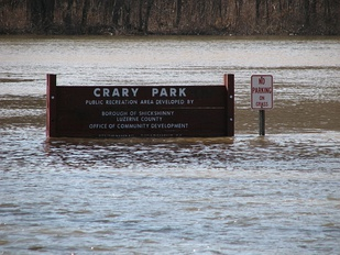 In March 2011, Crary Park in Shickshinny, Pennsylvania, was inundated with a flood when the river rose above 27 feet at Wilkes-Barre.[29] Six months later, the town was devastated by a 42-foot record flood.[30]