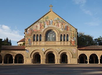 Stanford Memorial Church at Stanford University, US, is a loose interpretation of a Romanesque facade.