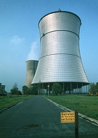 The THTR-300 cooling tower for the now decommissioned thorium nuclear reactor in Hamm-Uentrop, Germany, 1983.