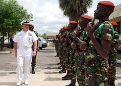 U.S. Navy Captain is greeted by Gabonese Army