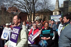 A trade union protest by UNISON while on strike