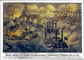 A line of about a dozen Union gunboats on the Mississippi River exchange fire with the town above on a cliff