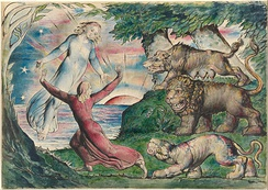 William Blake, Dante running from the three beasts, 1824