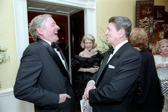 William F. Buckley Jr. (left) and Ronald Reagan. two of the most visible conservatives of the 1970s and 1980s
