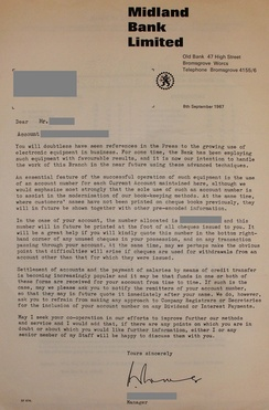 Letter from the Midland Bank to a customer, informing them on the introduction on electronic data processing and on account numbers for current accounts