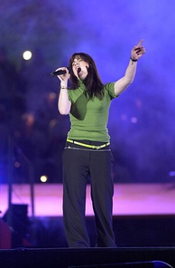 Amorosi shown singing at the Opening Ceremony of the 2000 Summer Paralympics in Sydney, Australia