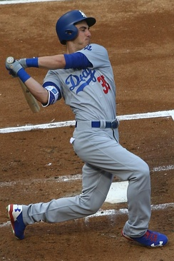 Bellinger  hitting with the 2017 Los Angeles Dodgers
