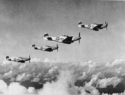 45th Fighter Squadron P-51Ds on an escort mission in June 1945[note 1]