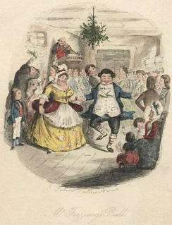 Mr. and Mrs. Fezziwig dance in a vision shown to Scrooge by the Ghost of Christmas Past.