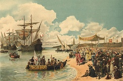 Vasco da Gama's departure to India, in 1497.
