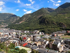 View of Andorra la Vella with mountains