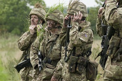 Army Reservists applying camouflage during a training exercise