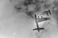 Wee Willie, a B-17G of 322d Squadron, after flak hit over Stendal, April 8, 1945[2]