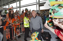 Van Marwijk at Schiphol prior to the Netherlands' run to the final at the 2010 World Cup.