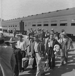 The first Braceros arrive in Los Angeles, 1942.
