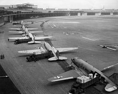 C-47s unloading at Tempelhof Airport during the Berlin Airlift.