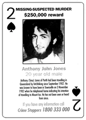 A single card from an Australian cold case playing card deck.