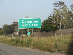 Highway sign for Compton