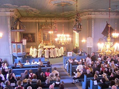 Confirmation in Lunder Church, Ringerike, Norway, 2012. The Church of Norway is a member of the Porvoo Communion, which means that that these confirmands would be readily transferred into any Anglican church should they ever emigrate.