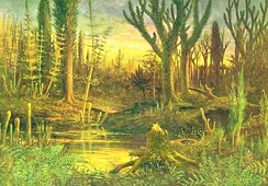 An artist's impression of early land plants