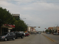 A glimpse of downtown Vernon, with Waggoner National Bank in the left background