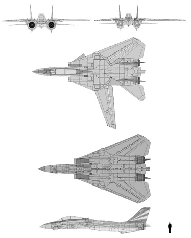 Schematic diagram of Grumman F-14 Tomcat