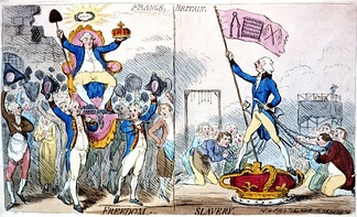 "In this 1789 engraving, James Gillray caricatures the triumph of Necker (seated, on left) in 1789, comparing its effects on freedom unfavorably to those of William Pitt the Younger in Britain. France has the caption ""Freedom,"" while Britain has the caption ""Slavery."""