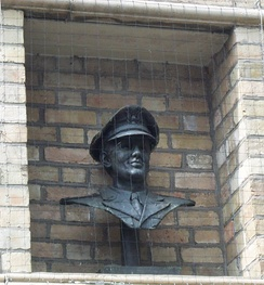 Bust outside the Corn Exchange in Bedford, England, where Miller played in World War II.