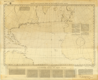 """Great Circle Sailing Chart of the North Atlantic Ocean"" annotated by Lindbergh"