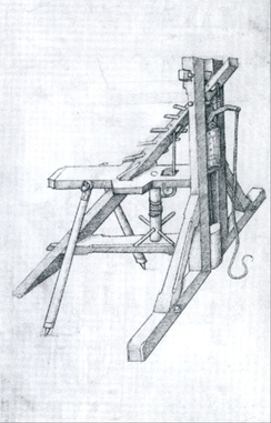 Illustration of a hand-operated pile driver in Germany after 1480
