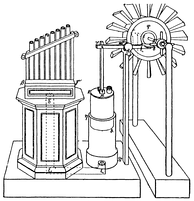 A modern reconstruction of the wind organ and wind wheel of Heron of Alexandria
