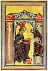 Illumination from the Liber Scivias showing the physician and Doctor of the Church Hildegard of Bingen receiving a vision and dictating to her scribe and secretary.
