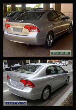 Top: Brazilian flexible-fuel Honda Civic. Below: U.S. Honda Civic Hybrid