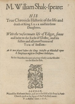 Title page of the first quarto edition, published in 1608