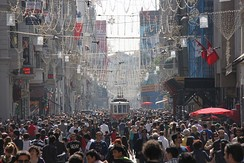 İstiklal Avenue in Istanbul's cosmopolitan Beyoğlu district is visited by an average of 3 million people on weekend days.