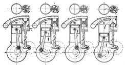 Золотниковое газораспределение со вращающимся золотником на четырёхтактном двигателе, каждый золотник обслуживал по два соседних цилиндра (Itala, 1910-е годы).